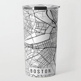 Boston Map, Massachusetts USA - Black & White Portrait Travel Mug