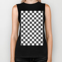 Gingham Dark Slate Grey Checked Pattern Biker Tank