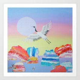 In Flight  - Crane in Sunset Landscape - acrylic on canvas Art Print