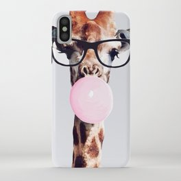 Giraffe wearing glasses blowing bubble gum iPhone Case