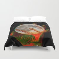 baseball Duvet Covers featuring Baseball Moon by Mel Moongazer