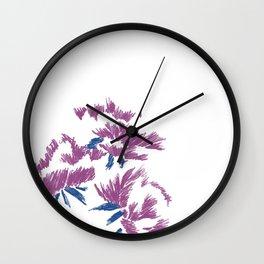 Japanese peonies - purple and blue Wall Clock