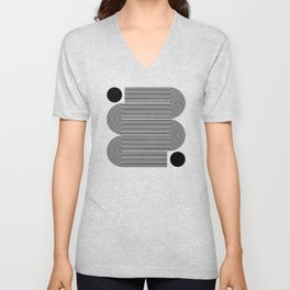 Abstraction_LINE_BLACK_DOT_VISUAL_ART_Minimlism_001A Unisex V-Neck