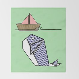 Origami Whale Throw Blanket