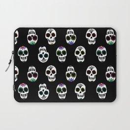 Sugar Skull Pattern on Black Laptop Sleeve