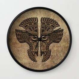 Stone Aztec Twins Mask Illusion Wall Clock
