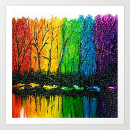 Rainbow Abstract Painting. Woods. Red Yellow Orange Green Blue Purple Art Print