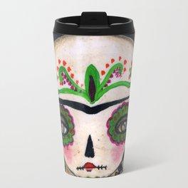 Frida The Catrina And The Devil - Dia De Los Muertos Mixed Media Art Travel Mug