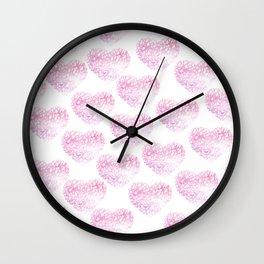 Blush pink watercolor abstract watercolor hearts pattern Wall Clock