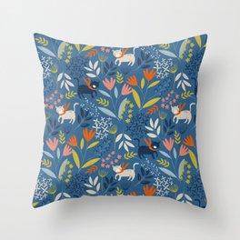 Cats & Flora Throw Pillow