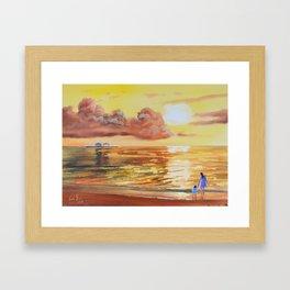 Mother and Daughter sunset seascape Framed Art Print