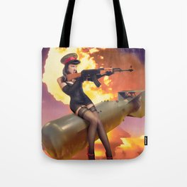 """Sovietsky by Air"" - The Playful Pinup - Missile Russian Pin-up Girl by Maxwell H. Johnson Tote Bag"