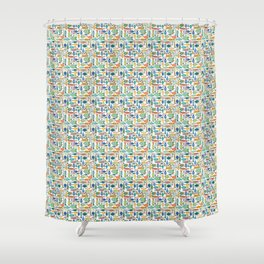 Retro Fish White Shower Curtain