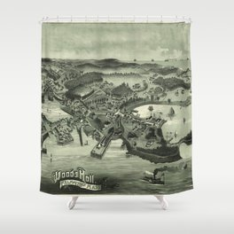 Vintage Pictorial Map of Woods Hole Falmouth MA (1887) Shower Curtain