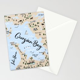 Map of Georgian Bay and Lake Huron Stationery Cards