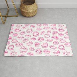 Cute Lips Sketches in Pink Rug
