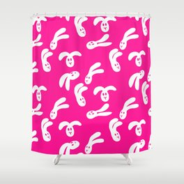 Flop Bunny Pattern White Pink Shower Curtain