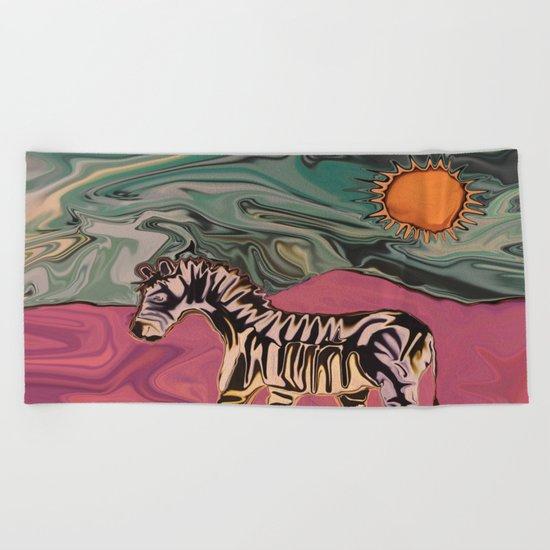 Zebra on Mars Beach Towel