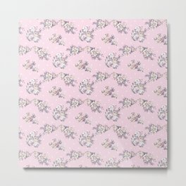 Modern hand painted pink white roses floral polka dots Metal Print