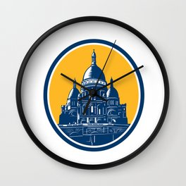 Dome of Sacre Coeur Basilica Paris Retro Wall Clock
