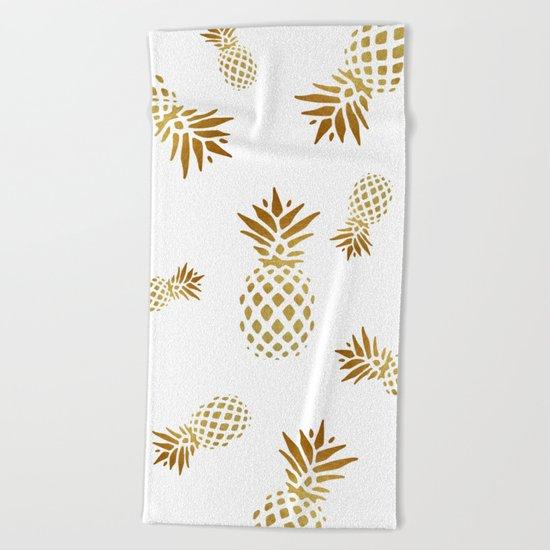 Golden Pineapple Beach Towel