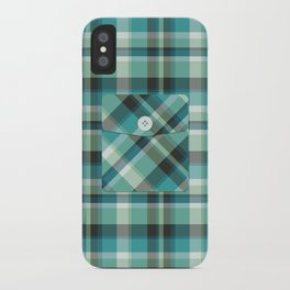 Plaid Pocket - Teal Blue/Green iPhone Case