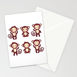 Set of funny brown monkey boys and girls on white background. Vector illustration Stationery Cards