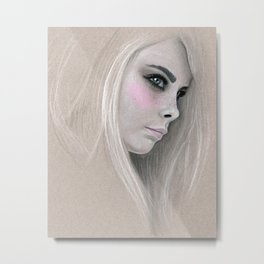 Cara Fashion Illustration Portrait Metal Print