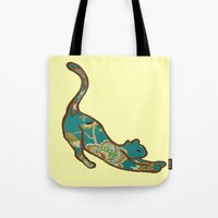 jewish Tote Bags featuring I love you, kitten by Brown Eyed Lady