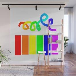 Rainbow on white Wall Mural