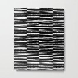 Paint brush free spirit pattern boho minimal black and white modern art abstract painting urban deco Metal Print