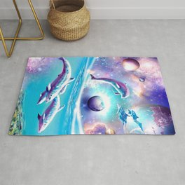 Galaxy Dolphin - Dolphins In Space Rug