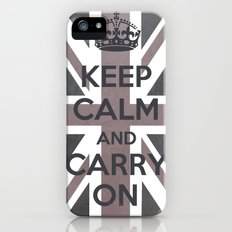 Keep Calm and Carry On UK - Purple/Grey iPhone (5, 5s) Slim Case
