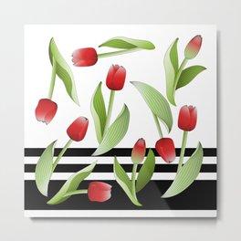 Modern Vintage Red Tulip Floral Patten Metal Print