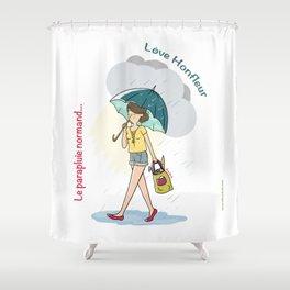 Love Honfleur-Le parapluie normand Shower Curtain