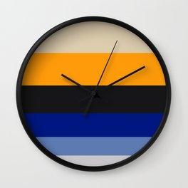 Complementary Blue & Yellow Colorful Geometric Pattern Colour Block Stripes Wall Clock