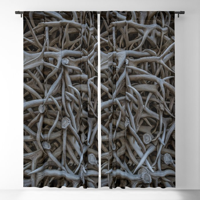 Horns a Plenty Detail Jackson Hole Arch Elk Horn Blackout Curtain