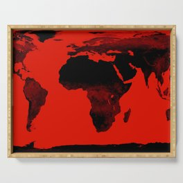 World Map Red & Black Serving Tray