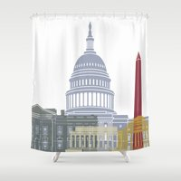 washington dc Shower Curtains featuring Washington DC skyline poster by Paulrommer