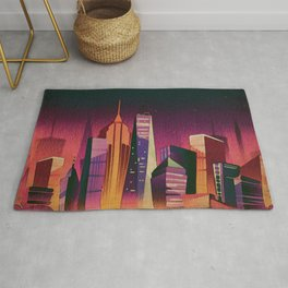 Midnight in New York Kitschy Watercolor in Mid Century Style Rug