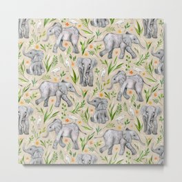 Baby Elephants and Egrets in Watercolor - neutral cream Metal Print