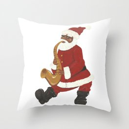 African American Santa with Sax Throw Pillow