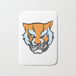 Tiger Head Bitting Beer Can Orange Bath Mat