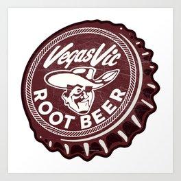 Vintage Vegas Vic Pioneer Club Root Beer Soda Pop Bottle Cap Art Print