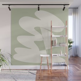 Minimalist Modern Abstract Expressionism in Sage Wall Mural