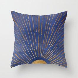 Twilight / Blue and Metallic Gold Palette Throw Pillow
