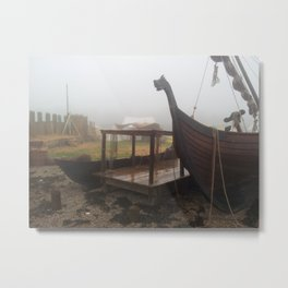 Viking Harbour in the Mist Metal Print