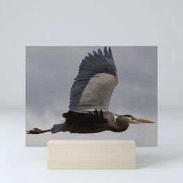 Bird series: heron in flight Mini Art Print