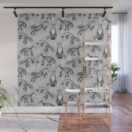 Fox pattern drawing foxes cute andrea lauren grey forest animals woodland nursery Wall Mural