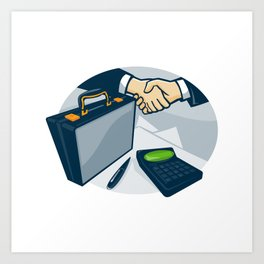 Business Handshake Deal Briefcase Retro Art Print